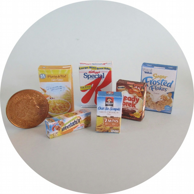 Dolls House 1:12th scale miniature selection of breakfast cereals.