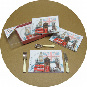Dolls House 1:12th scale miniature boxed London tablemats