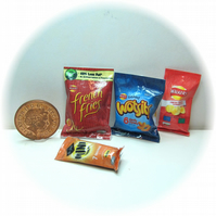 Dolls House 1:12th scale miniature multipack packets of crisps, snacks (c2)