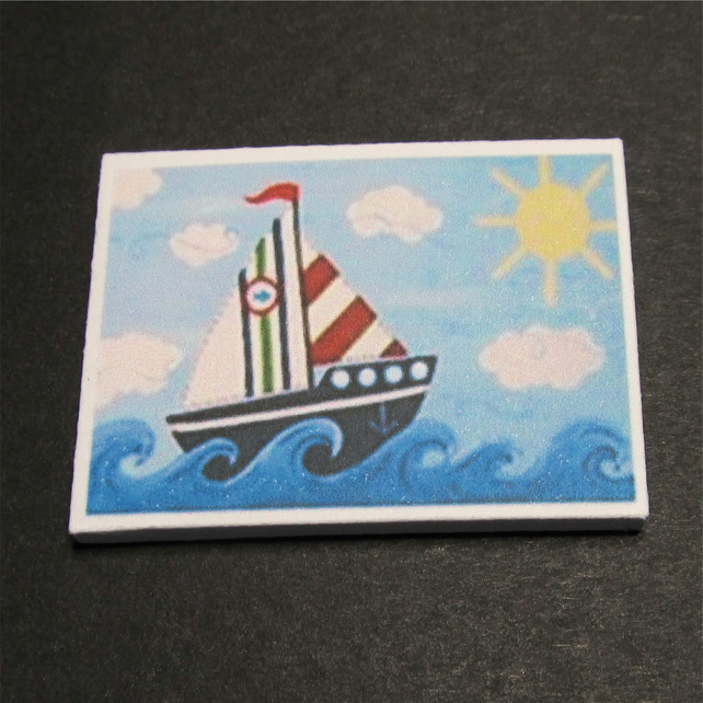 Dolls House 1:12th scale miniature nursery wall art, picture, canvas, Boat
