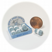 Dolls House 1:12th scale shop display box of wools, baby blue.
