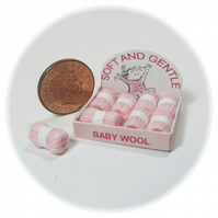 Dolls House 1:12th scale shop display box of wools, baby pink