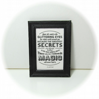 Dolls House 1:12th scale miniature black and white framed text print. (p1)
