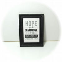 Dolls House 1:12th scale miniature black and white framed text print. (p2)