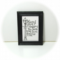 Dolls House 1:12th scale miniature black and white framed text print. (p6)