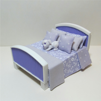 SALE - Dolls house miniature dressed bed in 1:24th scale (b2) OOAK