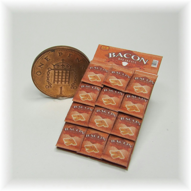 Dolls House 1:12th scale miniature snack display card. Bacon