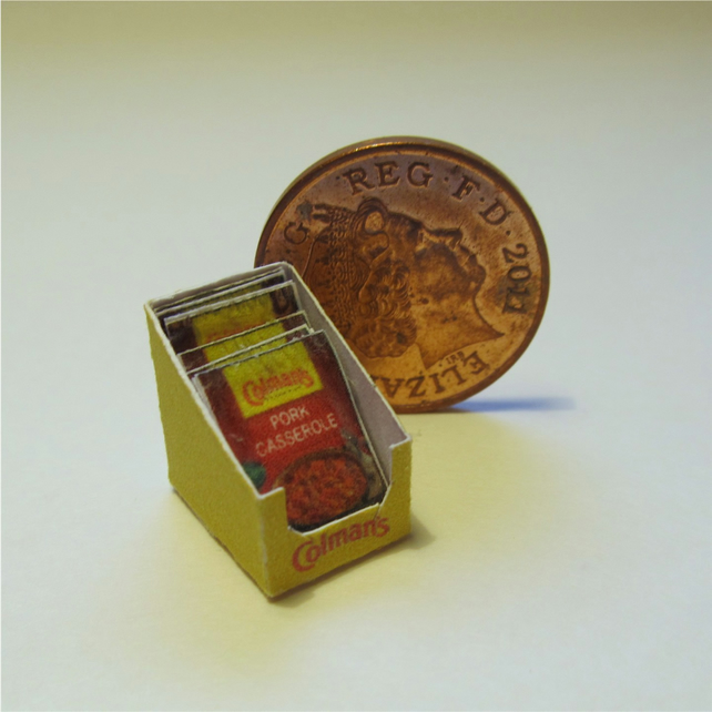 Dolls House 1:12th scale miniature box of sauce mix. Pork PRICE REDUCED