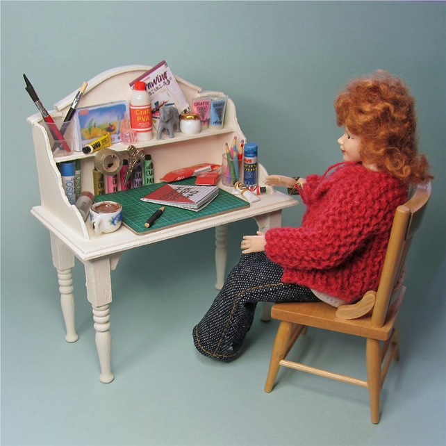 Dolls House 1:12th scale miniature craft table with all contents. OOAK