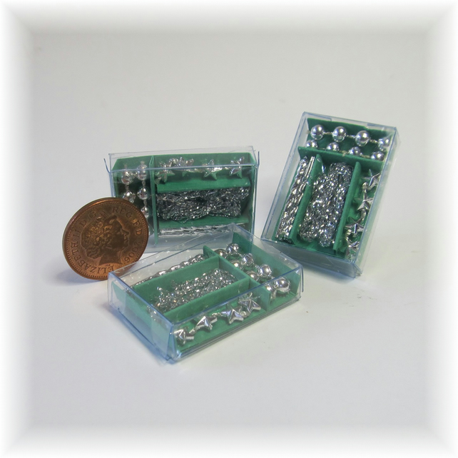 Dolls House 1:12th scale miniature box of silver decorations
