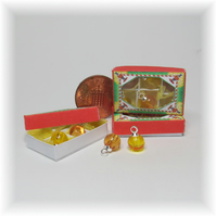 Dolls House 1:12th scale miniature box of gold Xmas baubles, PRICE REDUCED