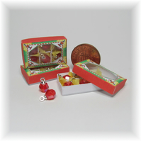 Dolls House 1:12th scale miniature box of red Xmas baubles, PRICE REDUCED