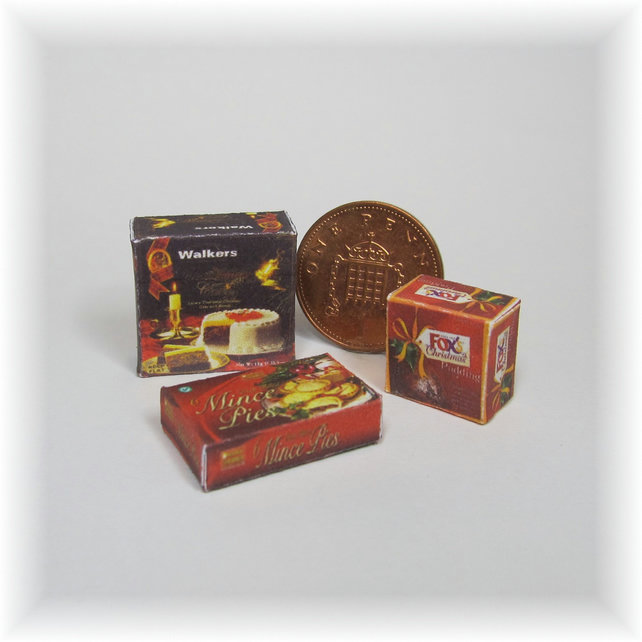 Dolls House 1:12th scale miniature boxes of Xmas cake, pudding and mince pies.