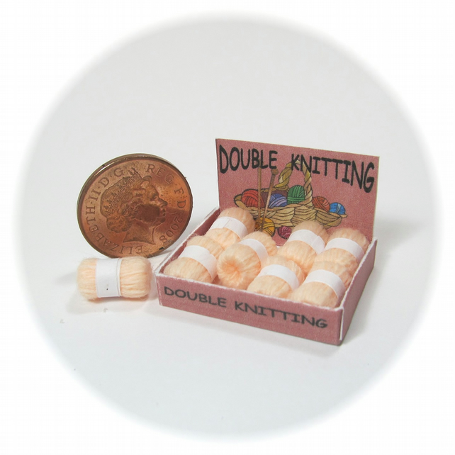 Dolls House 1:12th scale shop display box of wools, double knit PRICE REDUCED