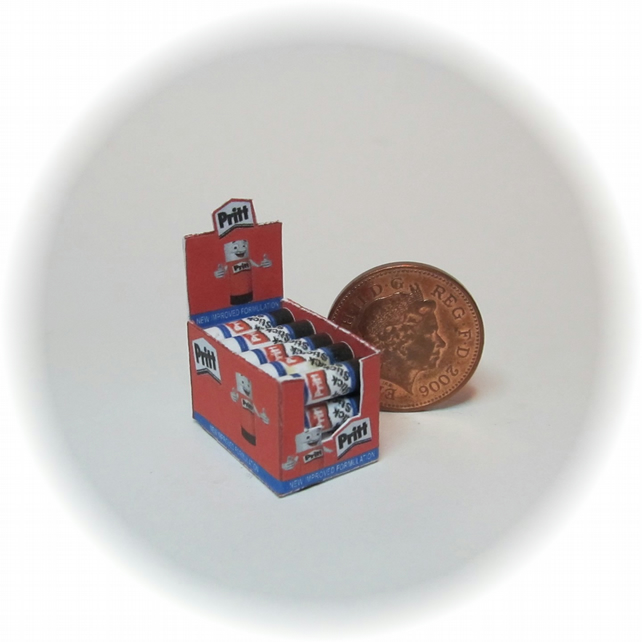 Dolls House 1:12th scale miniature box of pritt sticks.