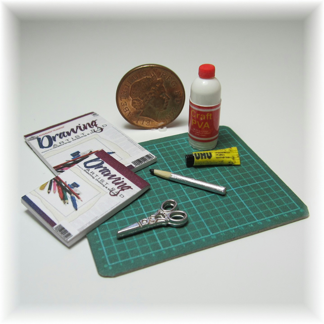 Dolls House 1:12th scale miniature cutting mat and craft accessories