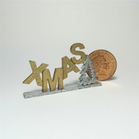 Dolls House 1:12th scale miniature text ornament, Xmas, PRICE REDUCED