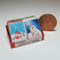 Dolls House 1:12th scale miniature shop box of Xmas card packs PRICE REDUCED