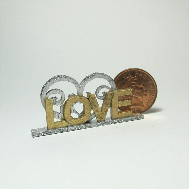 Dolls House 1:12th scale miniature text ornament, love,