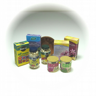 Dolls House 1:12th scale miniature garden supplies, plant foods set.