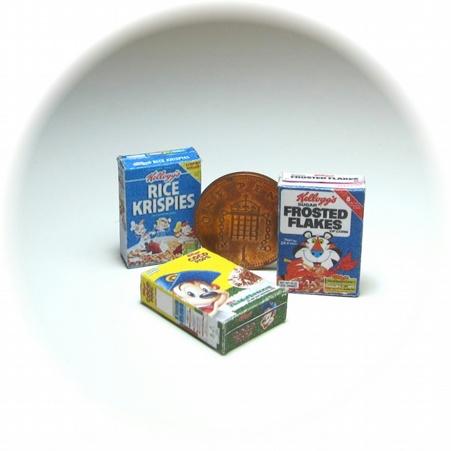Dolls House 1:12th scale miniature set of kids breakfast cereals. PRICE REDUCED