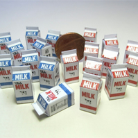 Doll house miniature food. 2x Milk cartons 1:12th scale