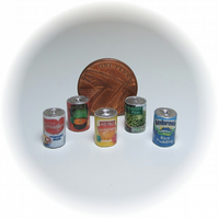 Dolls House 1:12th scale food cans x5 (set A)