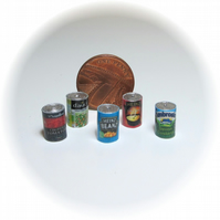 Dolls House 1:12th scale food cans x5 (set B)