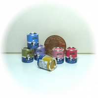 Dolls House 1:12th scale miniature set of 6 paint cans