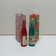 Dolls House 1:12th scale miniature wine bottles with Xmas bags