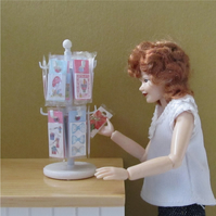 Dolls House 1:12th scale miniature shop counter stand of greetings cards.