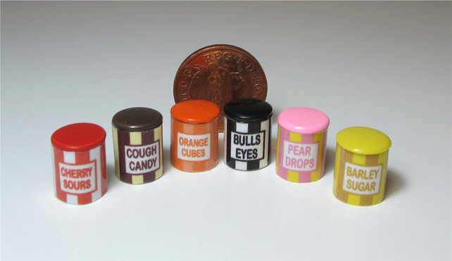 Dolls House 1:12th scale miniature set of 6 sweet tins.