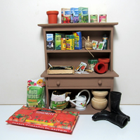 Dolls House 1:12th scale potting shed dresser with all contents. OOAK