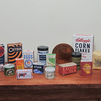 Dolls House 1:12th scale miniature 1940's groceries, food, packets