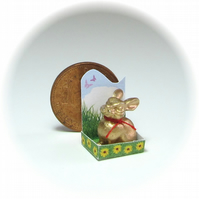 Dolls House 1:12th scale miniature, gold Easter bunny