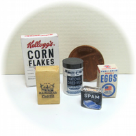 Dolls House 1:12th scale miniature 1940's food packets (set 3)