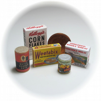 Dolls House 1:12th scale miniature 1940s food packets (set 6)