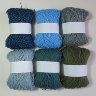 6x balls 1 to 2 ply acrylic yarn (Pack A)