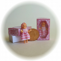 Dolls House 1:12th scale miniature a boxed dolly for your dollhouse doll. Pink