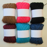 6x balls 1 to 2 ply acrylic yarn (Pack D)