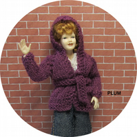 Dolls House 1:12th scale knitted jacket with hood, plum PRICE REDUCED
