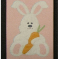 Dolls House 1:12th scale miniature nursery wall art, picture, canvas, Pink bunny