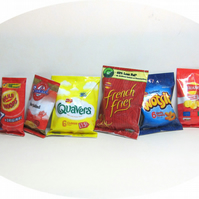 Dolls House 1:12th scale miniature 8x multipack packets of crisps, snacks