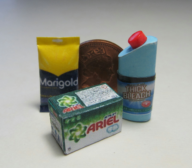 Dolls House miniature detergent,  bleach and rubber gloves packet. (B)