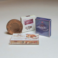 Dolls House 1:12th scale miniature boxes of chocolates, set of 3.