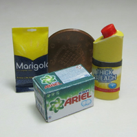 Dolls House miniature detergent,  bleach and rubber gloves packet. (Y)