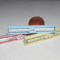 Dolls House 1:12th scale miniature trio of boxed drawer liners