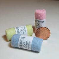 Dolls House 1:12th scale miniature trio of fleece throws