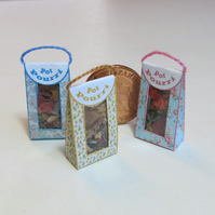 Dolls House 1:12th scale miniature, three bags of pot pourri
