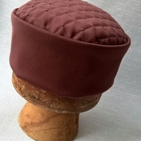Men's Smoking Cap, Ox Blood Victorian Style Gothic Pillbox Hat